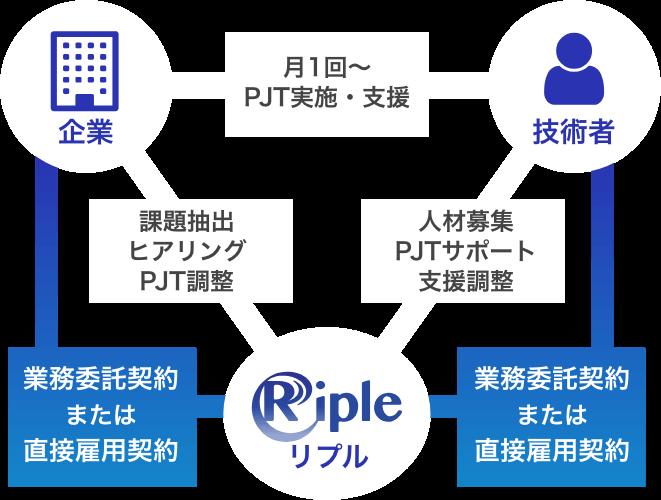 企業様・技術者様間で月1回〜PJT実施・支援、企業様・Riple間で課題抽出・ヒアリング・PJT調整、技術者様・Riple間で人材募集・PJTサポート・支援調整を行います。